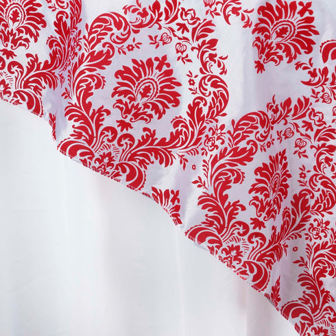 "60""x60"" Red Damask Flocking Square Overlay"
