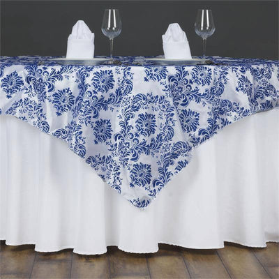 "60""x60"" Royal Blue Damask Flocking Square Overlay"