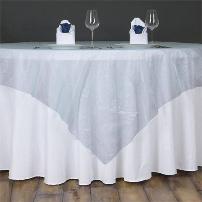 60'' | Light Blue Square Sheer Organza Table Overlays
