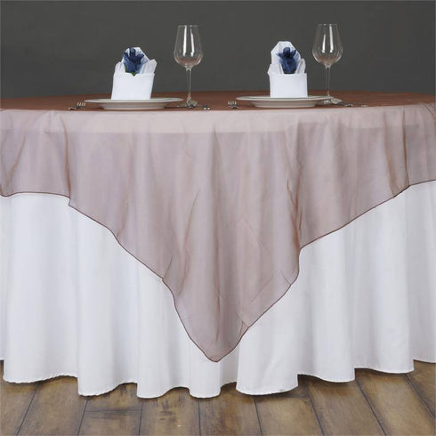 60'' | Chocolate Square Sheer Organza Table Overlays