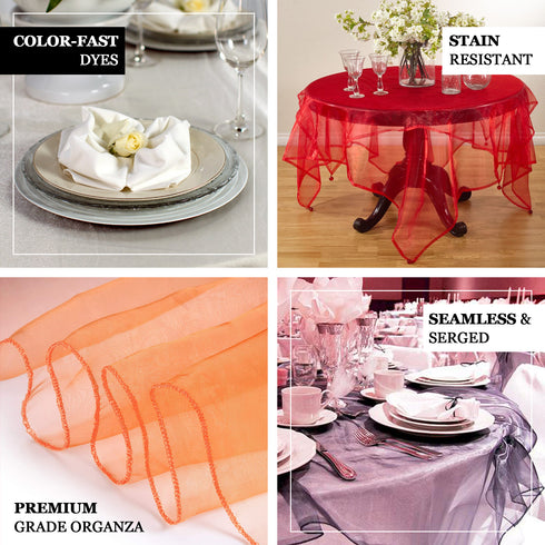 60 Gold Square Sheer Organza Table Overlays Efavormart