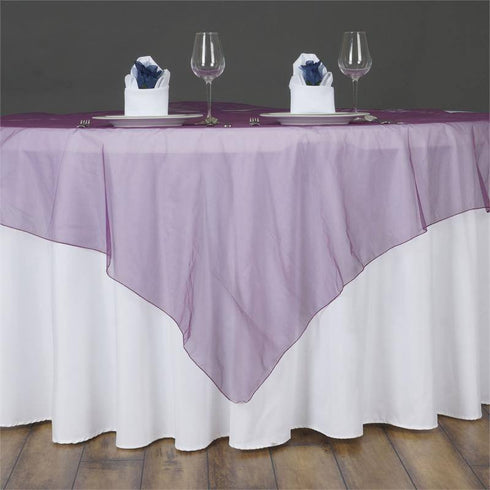 60'' | Eggplant Square Sheer Organza Table Overlays