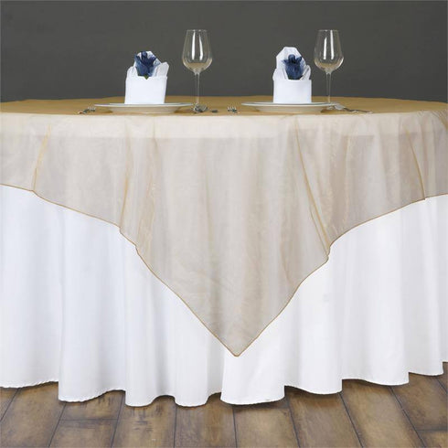 60'' | Gold Square Sheer Organza Table Overlays