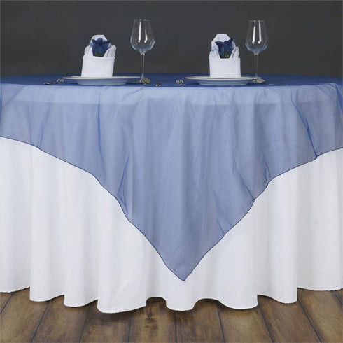 60'' | Navy Blue Square Sheer Organza Table Overlays