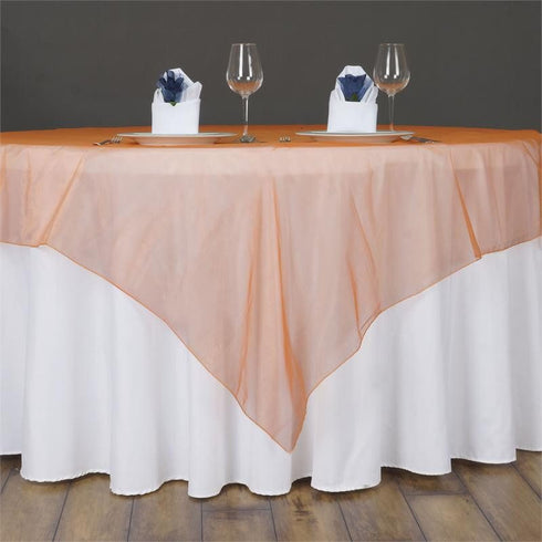 60'' | Orange Square Sheer Organza Table Overlays
