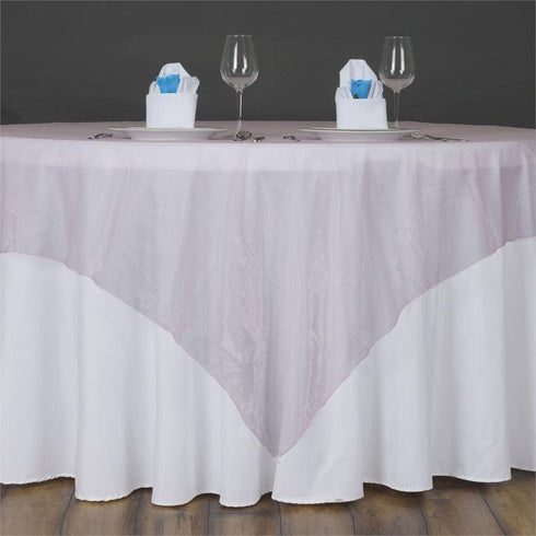 60'' | Pink Square Sheer Organza Table Overlays
