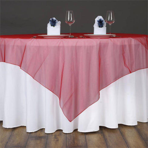 60'' | Red Square Sheer Organza Table Overlays