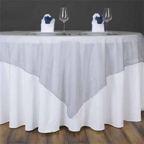60'' | Silver Square Sheer Organza Table Overlays
