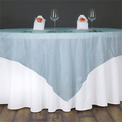 60'' | Turquoise Square Sheer Organza Table Overlays