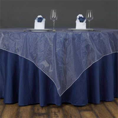 60'' | White Square Sheer Organza Table Overlays