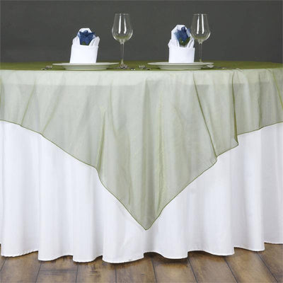 60'' | Moss Green Square Sheer Organza Table Overlays