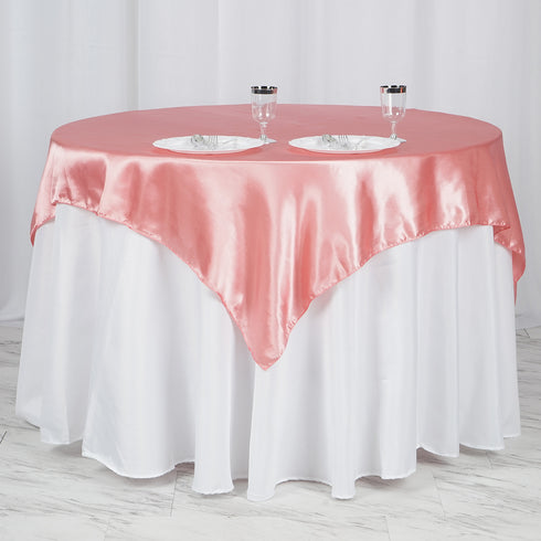 "60""x 60"" Rose Quartz Seamless Satin Square Tablecloth Overlay"