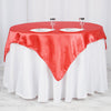 "60""x 60"" Coral Red Seamless Satin Square Tablecloth Overlay"
