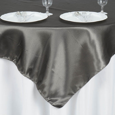 "60""x 60"" Charcoal Grey Seamless Satin Square Tablecloth Overlay"