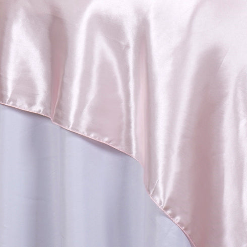 "60""  Seamless Satin Square Tablecloth Overlay- Rose Gold 