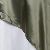 "60"" Laurel Green Seamless Satin Square Tablecloth Overlay"