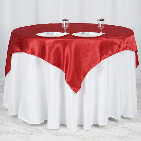 "60""x 60"" Wine Seamless Satin Square Tablecloth Overlay"
