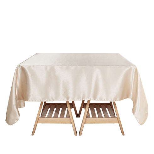 60x60 Beige Seamless Square Satin Tablecloth Overlay
