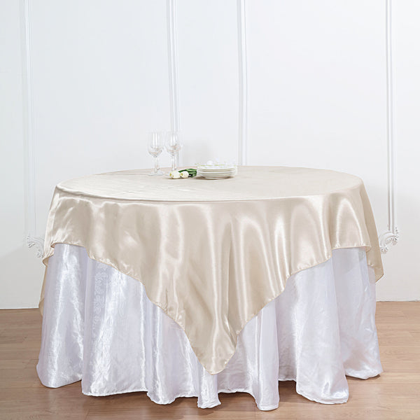 "60""x 60"" Beige Seamless Square Satin Tablecloth Overlay"