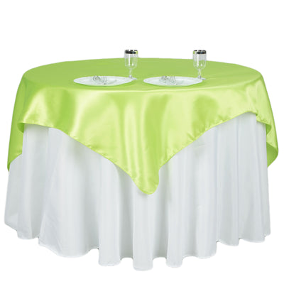 "60""x 60"" Apple Green Seamless Satin Square Tablecloth Overlay"