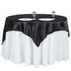 "72"" x 72"" Black Seamless Satin Square Tablecloth Overlay"