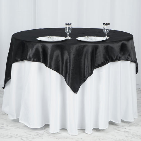 "60""x 60"" Black Seamless Satin Square Tablecloth Overlay"