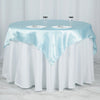 "60""x 60"" Light Blue Seamless Satin Square Tablecloth Overlay"