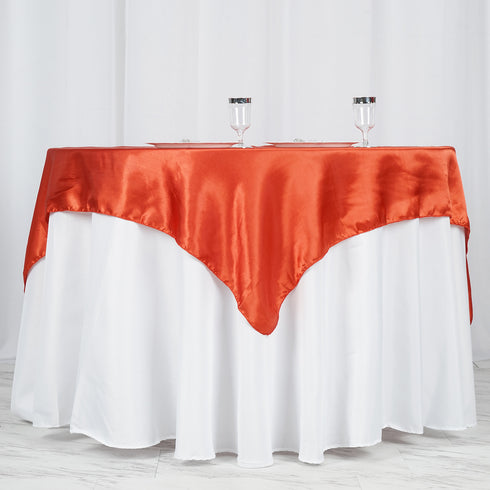 "60""x 60"" Burnt Orange Seamless Satin Square Tablecloth Overlay"