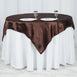 "60""x 60"" Chocolate Seamless Satin Square Tablecloth Overlay"