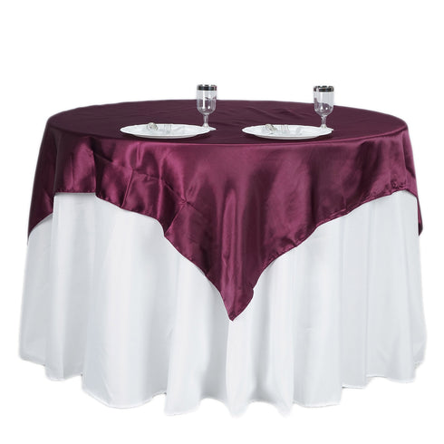 "60""x 60"" Eggplant Seamless Satin Square Tablecloth Overlay"