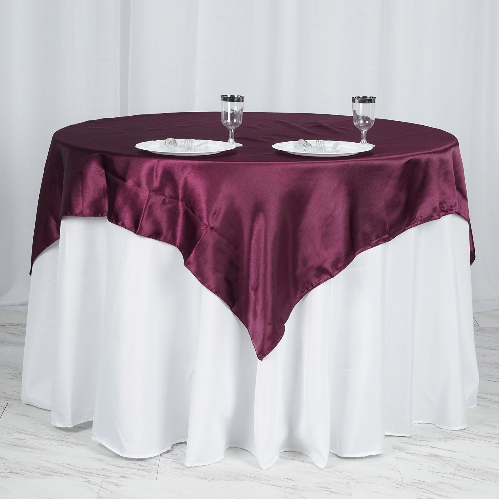 """15 pack 60/""""x 60/"""" Square Overlay Tablecloth 100/% polyester Wholesale Wedding"""