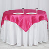 "60""x 60"" Fushia Seamless Satin Square Tablecloth Overlay"