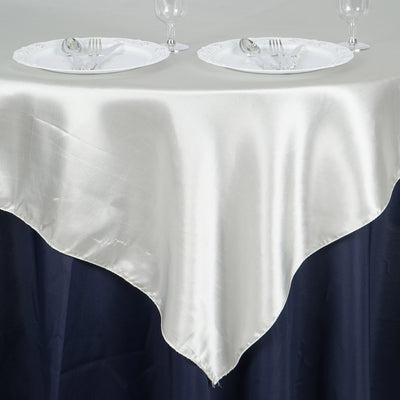 "60""x 60"" Ivory Seamless Satin Square Tablecloth Overlay"