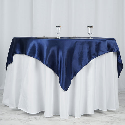 "60""x 60"" Navy Blue Seamless Satin Square Tablecloth Overlay"