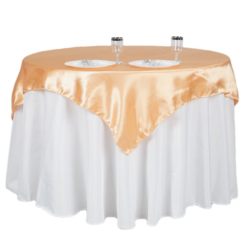 "60""x 60"" Peach Seamless Satin Square Tablecloth Overlay"