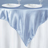"60""x 60"" Serenity Blue Seamless Satin Square Tablecloth Overlay"
