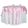 "60""x 60"" Pink Seamless Satin Square Tablecloth Overlay"
