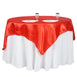 "72"" x 72"" Red Seamless Satin Square Tablecloth Overlay"