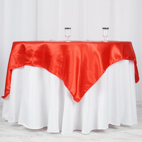 "60""x 60"" Red Seamless Satin Square Tablecloth Overlay"