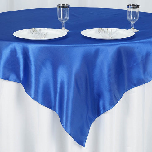 "60""x 60"" Royal Blue Seamless Satin Square Tablecloth Overlay"