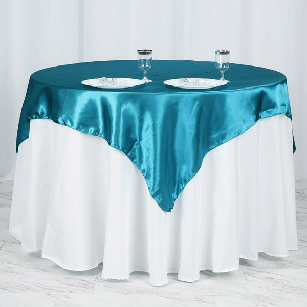 "60""x 60"" Teal Seamless Square Satin Tablecloth Overlay"