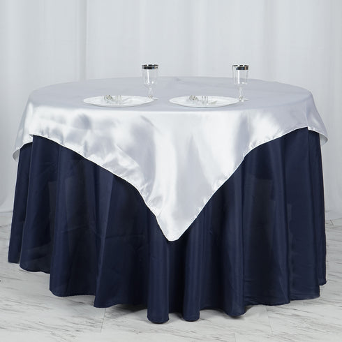 "60""x 60"" White Seamless Satin Square Tablecloth Overlay"