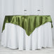 "60""x 60"" Moss Green Seamless Satin Square Tablecloth Overlay"