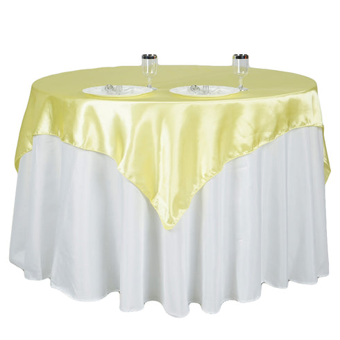 "72"" x 72"" Yellow Seamless Satin Square Tablecloth Overlay"