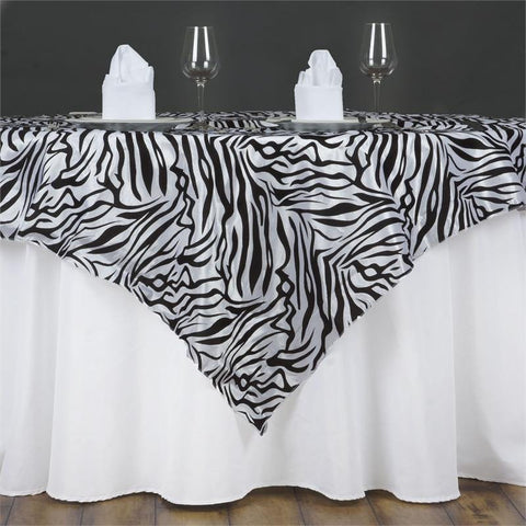 "Zebra Safari Overlay 60""x60"" - Black / White"