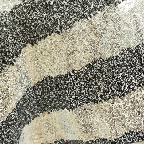 "72"" Stripped Silver Stripe Sequin Square Overlay - Black"