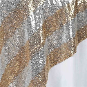 "72"" Stripped Silver Stripe Sequin Square Overlay - Gold"