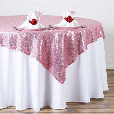 "LUXURY COLLECTION Duchess Sequin Overlay 72"" x 72"" - Pink"