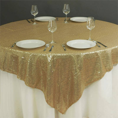 "LUXURY COLLECTION Duchess Sequin Overlay 72"" x 72"" - Champagne"