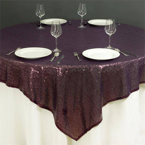 "LUXURY COLLECTION Duchess Sequin Overlay 72"" x 72"" - Eggplant"